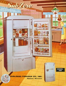 Retro Sub-Zero Advertisement for model 20D Freezer and Refrigerator